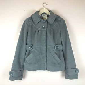 Anthropologie Tulle Button Snap Hooded Peacoat